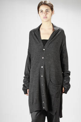 Long jersey cardigan with mohair muffs  - 121