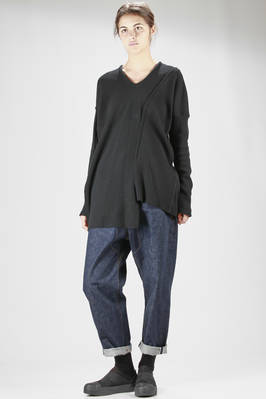 Asymmetric and wide cut rib knit jersey in melange wool  - 121
