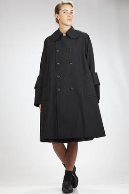 knee-length overcoat in wool gabardine and some parts in cotton velvet, cupro lined, double breasted, shirt rounded collar, button fastener, two side patch pockets, sewed inserts on the sleeve bottom   - 48