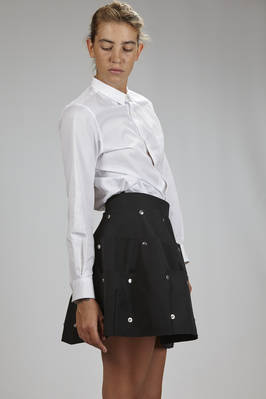 calf-length skirt in pressed wool gabardine on cotton, polyester and triacetate cloth - COMME DES GARÇONS
