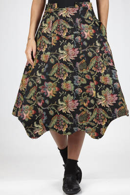 longuette skirt in viscose and polyester cloth with floral tapestry pressed on polyester cloth  - 48