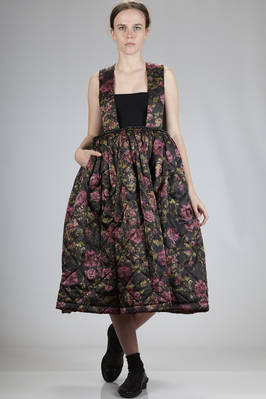 wide lined skirt in polyester matelassè with floral tapestry  - 48