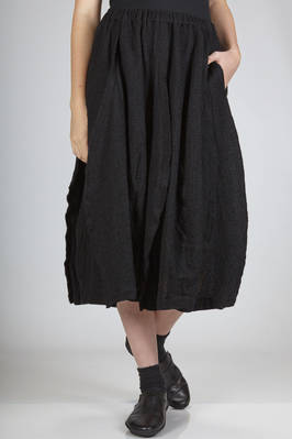 calf-length skirt in wool and nylon washed gauze  - 157