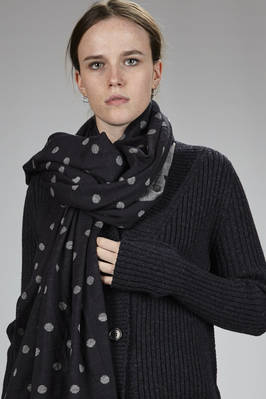wide scarf in doubble wool and acrylic stocking stitch with polka dots  - 157