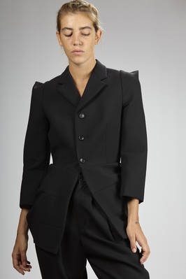 hip-length jacket in wool neoprene, polyester, polyurethane and nylon with 'wool gabardine' effect  - 74