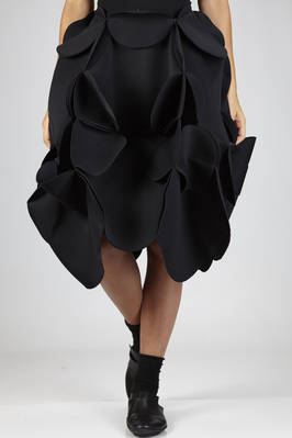 wide 'sculpture' skirt in nylon neoprene with circular origami working  - 74