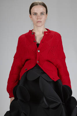 hip-length cardigan in polyester and wool cloth with lozenges working  - 74