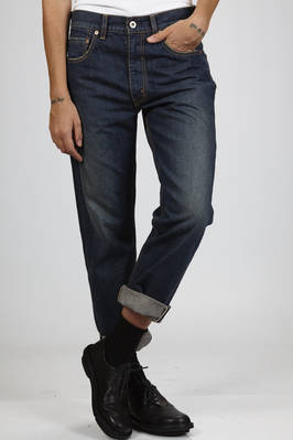 jeans in vintage denim of worked cotton  - 74