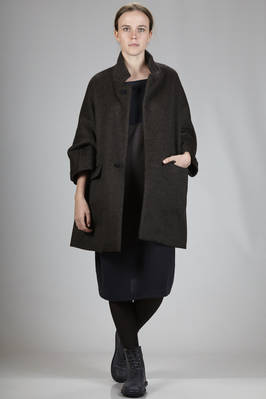 knee-length coat in tweed long hair mixture wool  - 195