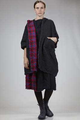 double knee-length pea coat: on one side in washed wool and on the other side in tartan wool  - 195