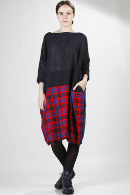 washed wool gauze midi dress with tartan and solid colour stitched panels  - 195