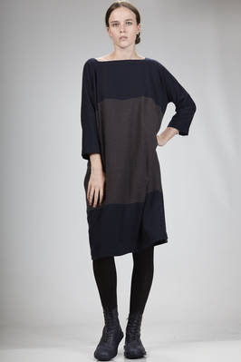calf-length dress in two-tone cashmere gauze  - 195
