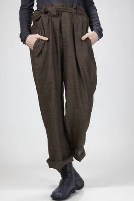 man wide trousers in washed wrinkled wool and linen gauze  - 195