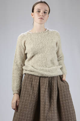 hip-length sweater in brushed knit wool on one side and the other in stockinette stitch  - 195