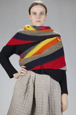 triangular scarf in hand-knitted cloth with multicolor horizontal lines  - 195