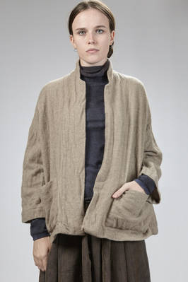 wide jacket in boiled cashmere canvas  - 195
