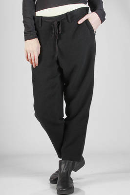 soft trousers in woollen fleece, viscose and cotton with linen inside  - 97