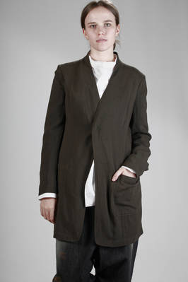 long jacket in light washed wool fabric, lined in cupro  - 97