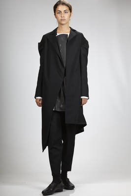 long asymmetric jacket in wool gabardine with viscose jersey inserts  - 73