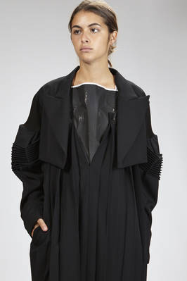 bolero 'sculpture' jacket in wool gabardine with viscose jersey inserts  - 73