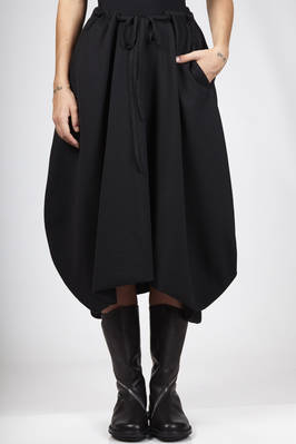 calf-length skirt in new wool and viscose hand crêpe jersey  - 161