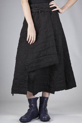 wide longuette skirt in cotton, linen, silk and wool embossed gauze  - 161