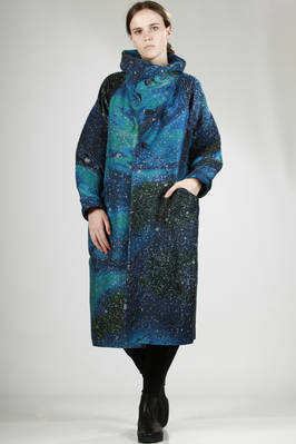 long wide overcoat in heavy cotton and polyester with hand-finished 'universe' print  - 47