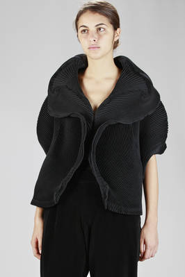 steam stretch pleated soft wasted jacket in wool and polyester with shell-shaped effect  - 47