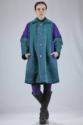 knee-length coat in multicolored polyurethane, nylon, cotton and polyester velvet  - 47