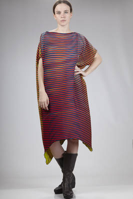calf-length dress in polyester baked-stretch plissé with multicolored horizontal and diagonal lines  - 47