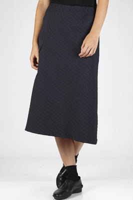 longuette flared skirt in polyester cloth with irregular horizontal lines texture  - 123
