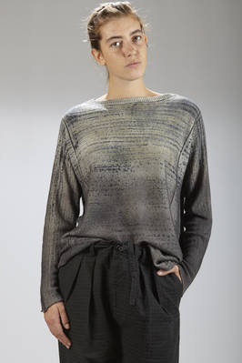 hip-length sweater in cashemere stockinette stitch cloth with vertical graffiti graphics on one side and horizontal ones on the other side  - 262