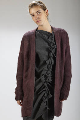 knee-length cardigan in faded colored yak straight stitched worked  - 262
