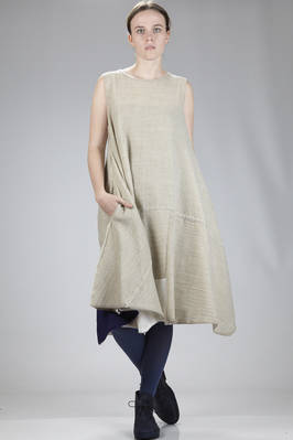 calf-length dress in wool gauze with sewed squares of different shades of color and dimensions  - 326