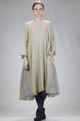 calf-length dress in wool gauze with sewed inserts of different shades of color and dimensions  - 326