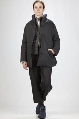 pea coat/quilted jacket with one side in wool flannel and the other in opaque nylon and polyester taffetas padded in feather  - 327
