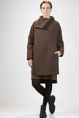 knee-length overcoat in cupro lined wool and nylon melange cloth  - 327