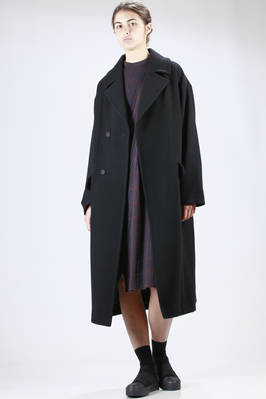 long overcoat cupro lined wool chevron  - 327