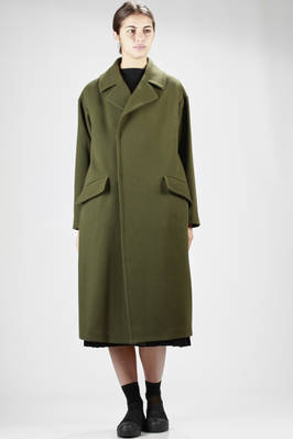 long overcoat cupro lined wool chevron  - 327