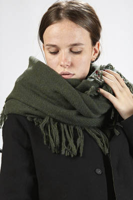 wide rectangular scarf in melange wool cloth  - 327
