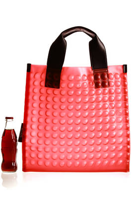 shopper bag in PVC with pluriball effect, the internal in nylon and double leather handle  - 111