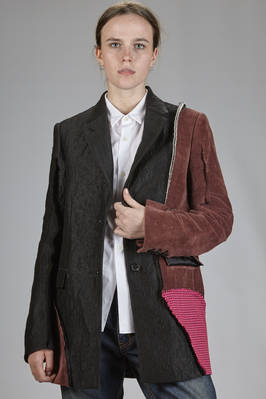 blazer jacket with irregular patchwork of different fabrics and colors  - 329
