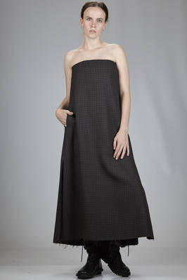 long dress in withered hand wool 'pepita' check, acetate lined  - 329
