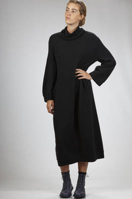 wide and long dress in polyamide, extra fine merinos wool, yak and elastane cloth  - 227
