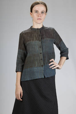 hip-length shirt in two-tone irregular vertical mélange lines worked wool  - 284