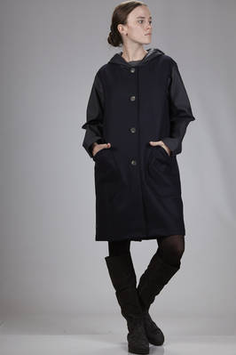 waterproof coat with parts in waxed cotton and polyurethane and parts in wool and polyamide waterproof coat  - 330