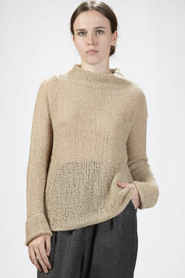 hip-length wide sweater in cashmere and silk iron worked with wide point  - 288