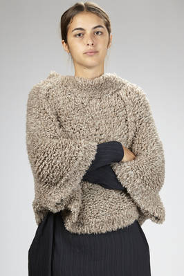 hip-length wide sweater in silk and cashmere with sheepskin effect  - 288