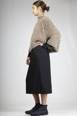 hip-length wide sweater in silk and cashmere with sheepskin effect - CIVIDINI
