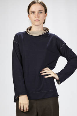 hip-length stockinette stitch sweater in wool and polyamide with the inner side in cotton of different color  - 288